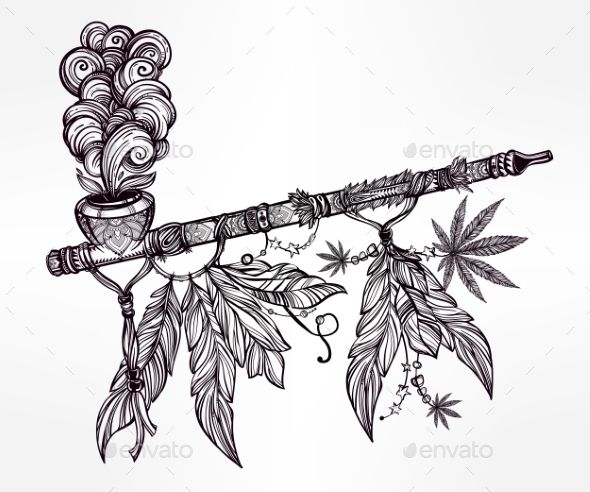 Native Indian Cannabis Smoking Pipe Of Peace. by itskatjas Hand drawn beautiful artwork of traditional Indian smoking pipe of peace adorned with cannabis leaf. Vector illustration isolated.