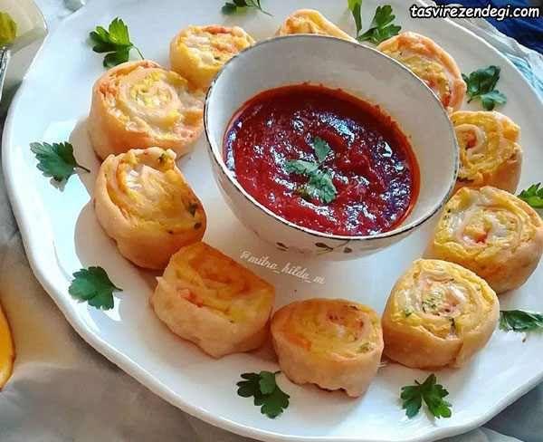 رولت سیب زمینی فینگر فود خوشمزه و شیک برای مهمانی و جشن تولد مجله تصویر زندگی Food Dishes Cooking Cooking Recipes