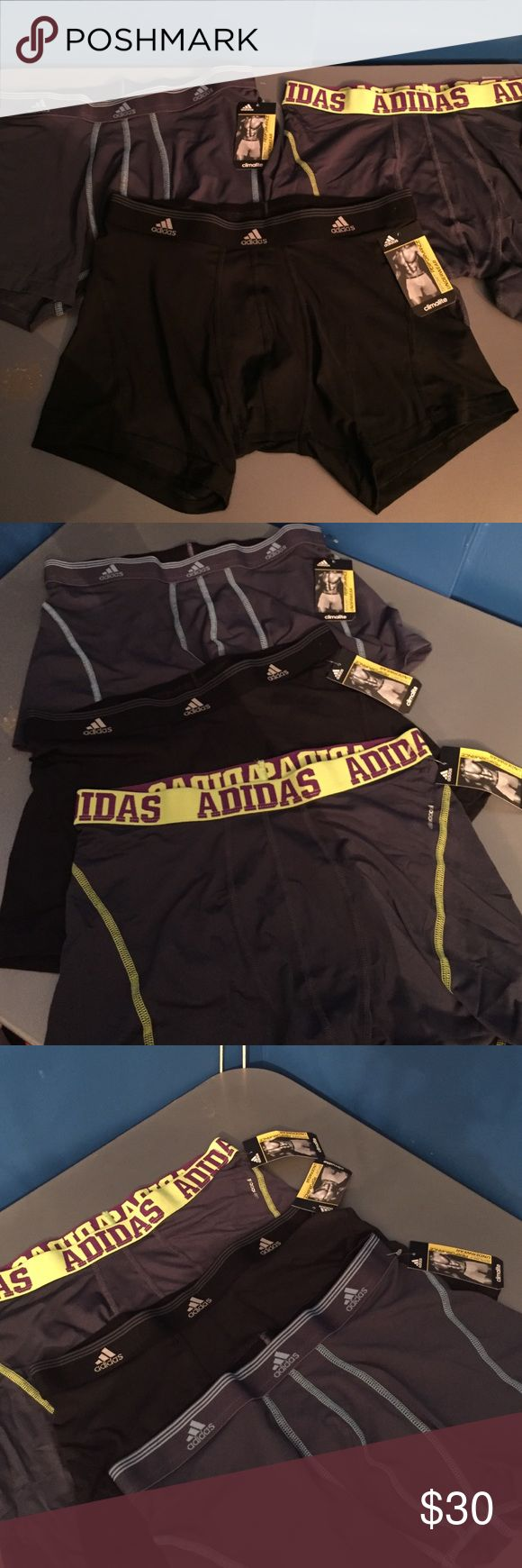 Nwt men's size medium performance boxers bundle Nwt performance boxers underwear set of 3 adidas all tags still on dark colors two performance trunks and one performance boxer Adidas Underwear & Socks Boxers