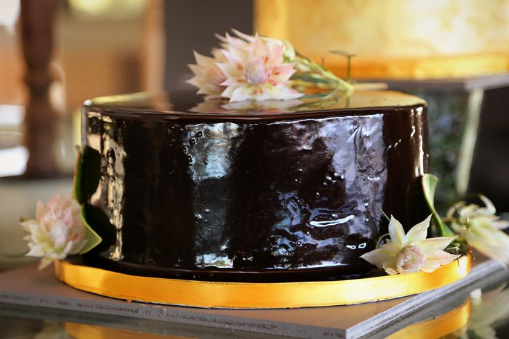 Rich chocolate cake filled and covered with chocolate ganache.