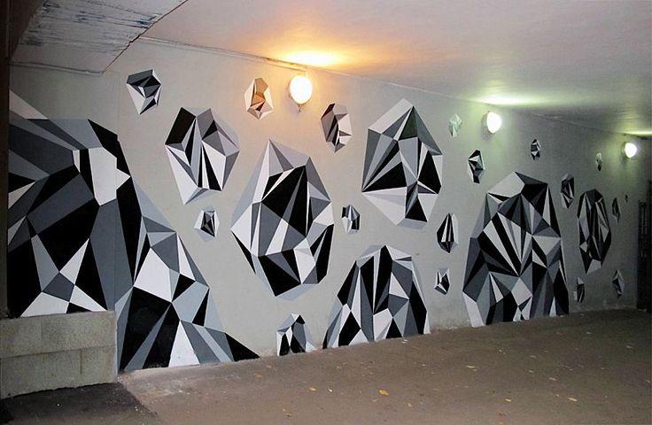 Colorful Geometric Graffiti Murals