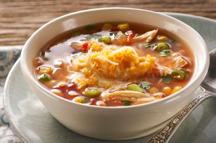 Cinco de Mayo Hearty Mexican Chicken Soup recipe - Hearty Mexican Chicken Soup  (22) rate it now!    photo by: kraftWith all the flavors of your favorite Mexican dinner in one pot, this will be your new favorite soup. Buying a rotisserie chicken makes the dish come together fast.