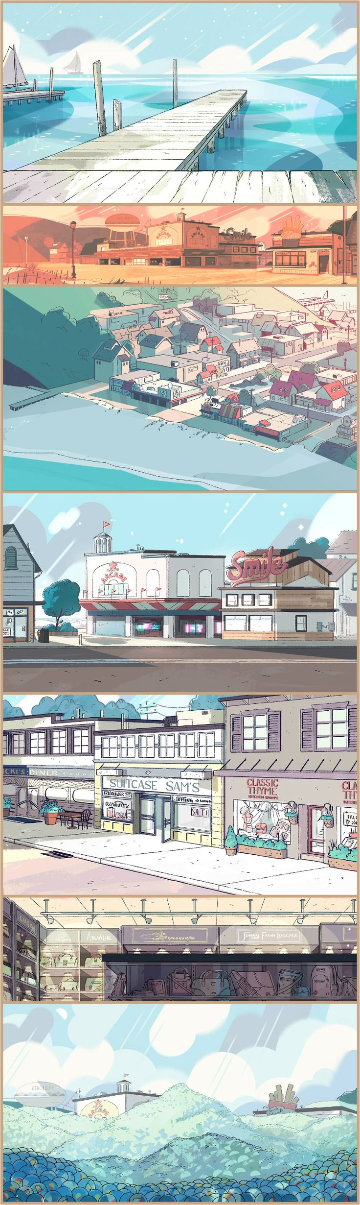 A selection of Backgrounds from the Steven Universe episode: Onion Trade Art Direction: Elle Michalka Design: Steven Sugar, Emily Walus Paint: Jasmin Lai