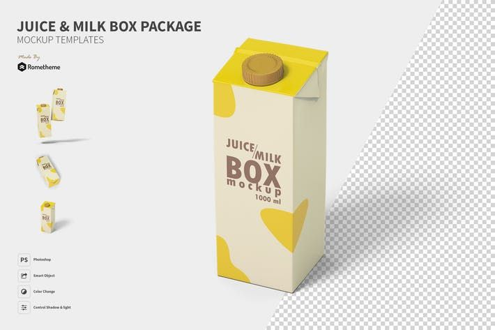 Download Juice And Milk Box Mockup Fh By Rometheme On Envato Elements