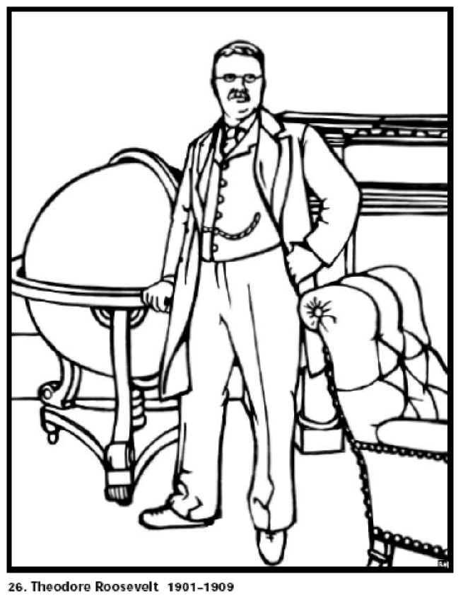 Theodore Roosevelt 26th President Of The United States Free Printable Coloring Sheet Click