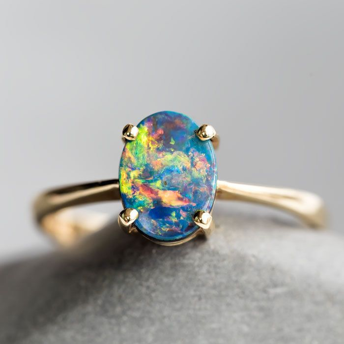 Oval Australian Rainbow Doublet Black Opal Engagement Ring 18k Yellow Gold