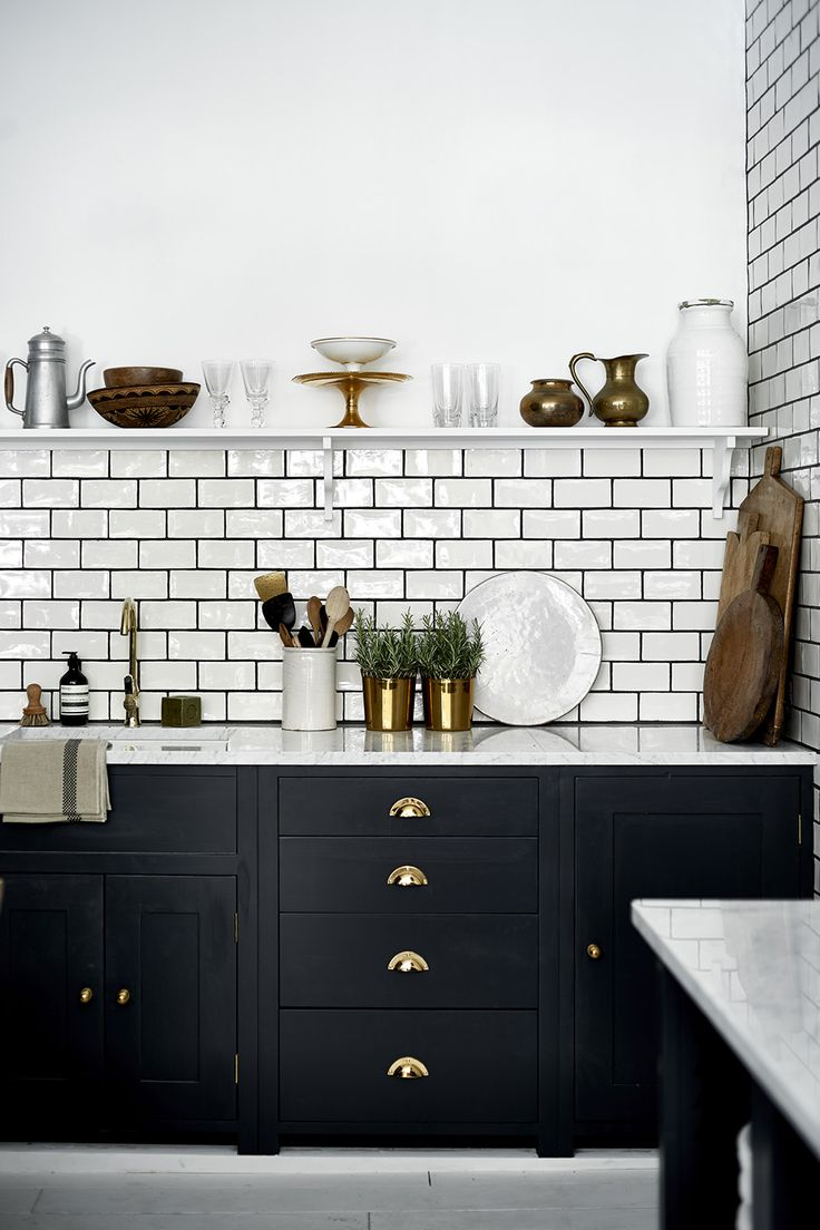 Our Suffolk kitchen, painted in Charcoal with brass handles. #NeptuneKitchen #SuffolkRange #Kitchen www.neptune.com - subway tiles and cabinets