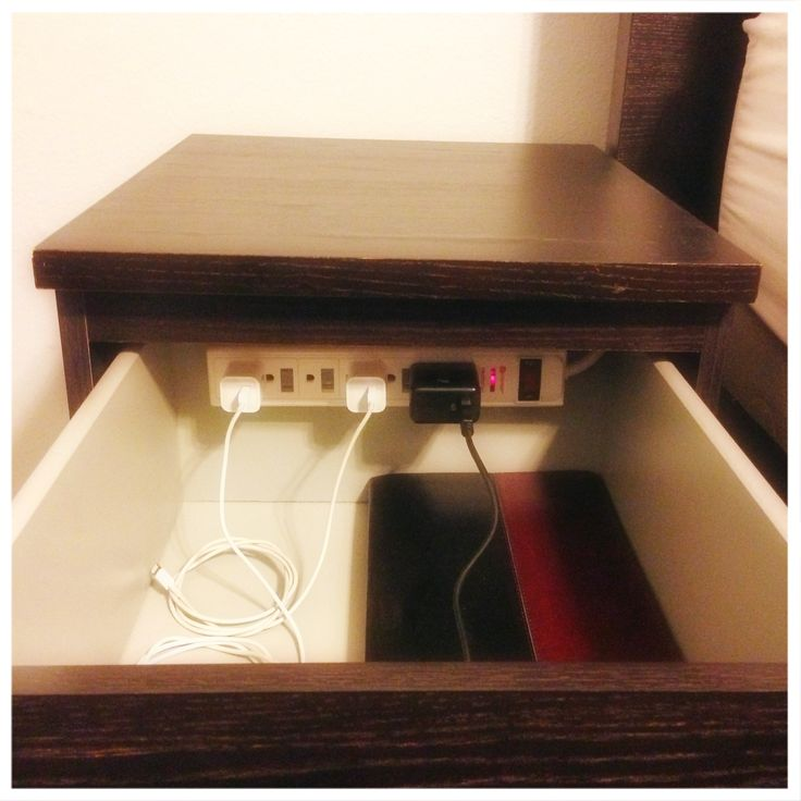 DIY charging station in nightstand. Banish clutter!!! #organization Good idea for my kids tablets