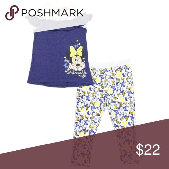 Minnie Mouse Girls 2-Piece Fashion Legging Set. Minnie Mouse Girls 2-Piece Fashion Legging Set. Sizes 4-6x. Navy Fashion Top w/Butterflies Minnie Mouse girls 2-Piece Fashion Legging Set. Butterflies design Very cute off the shoulder top Sizes: 4 - 5 - 6 - 6X Disney Composition: Top: 60% Cotton 40% Polyester Leggings:56% Cotton 40% Polyester 4% Spandex Disney Matching Sets