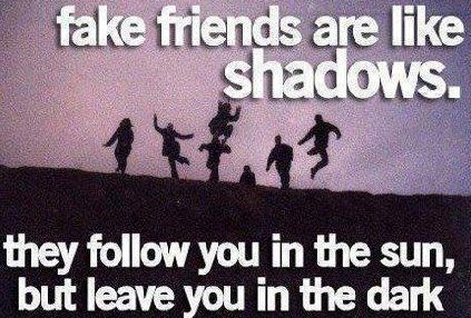 Fake friends are like shadows they follow you in the sun