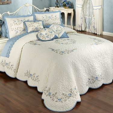 Vintage Charm Embroidered Quilted Bedspread Bedding