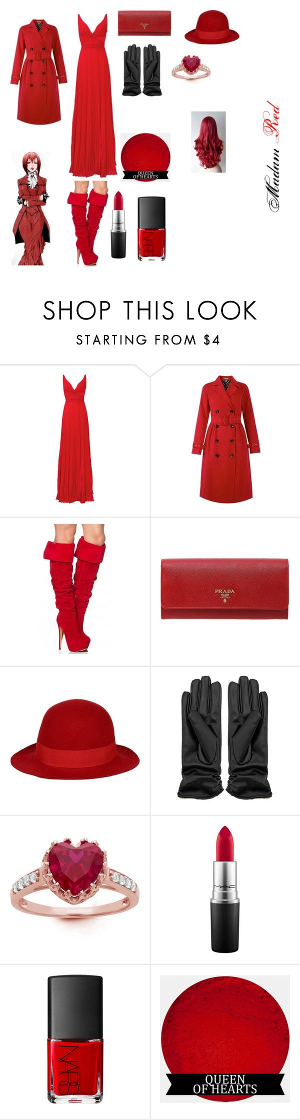 """Black Butler Madam Red"" by livyv123 ❤ liked on Polyvore featuring Laundry by Shelli Segal, Prada, George J. Love, Gioelli, MAC Cosmetics and NARS Cosmetics"