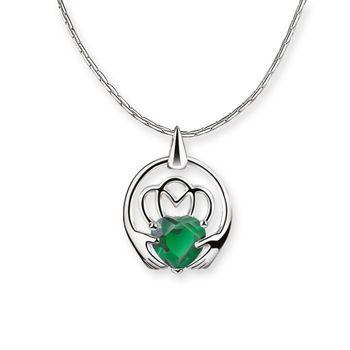 Claddagh Pendant Green - Pendants from Newbridge Silverware online Jewellery store Ireland