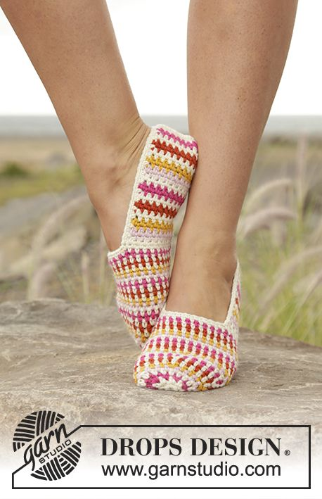 "Tropical Steps - #Crochet DROPS slippers with stripes in ""Lima"". - Free pattern by DROPS Design"