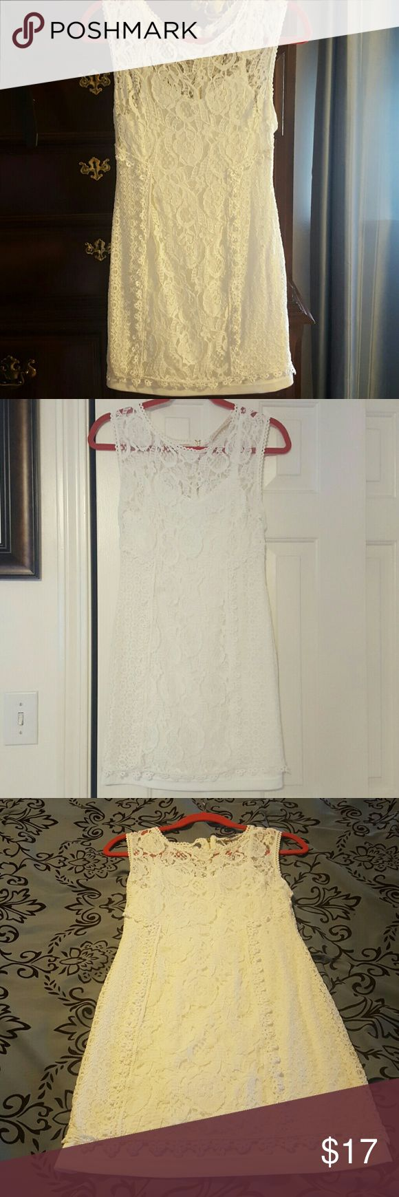 Beautiful lace overlay dress White lace dress with attached tank slip with tiny spot discoloration (pointed out in pic) barely noticeable malloy Dresses Midi