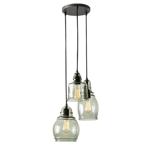 paxton glass 3 light pendant pottery barn overall x 12 qu. Black Bedroom Furniture Sets. Home Design Ideas