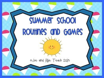 Summer School Routines and Games. Includes: games, morning meeting, character building, student of the day, summer poetry, Fourth of July, and more! 20 pages.