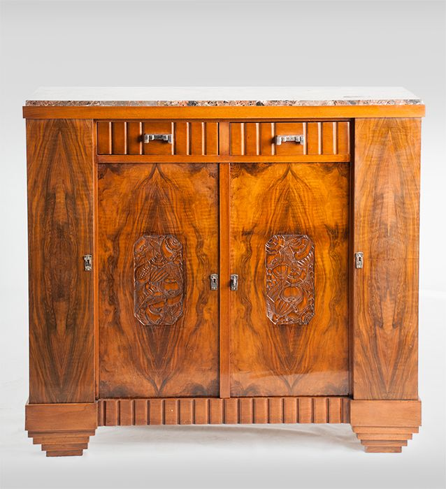 Amazing An Art Deco Sideboard Book Matched Walnut Veneer With Carved Detailing And  Marble Top. Photo