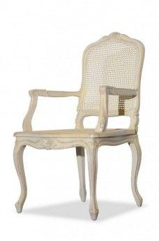 Stuhl Mit Armlehne Vintage Weiß Birke Massiv Holz Antik Optik Esszimmer  Stuhl