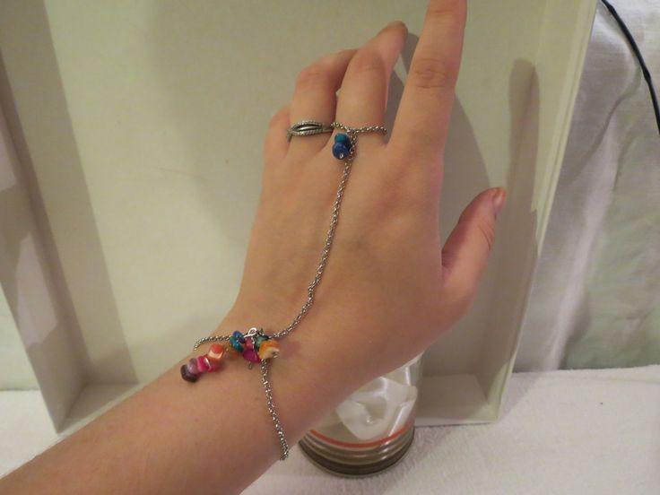 Bracelet bague en chaîne maillon ronds et perles de nacre. : Bracelet par…