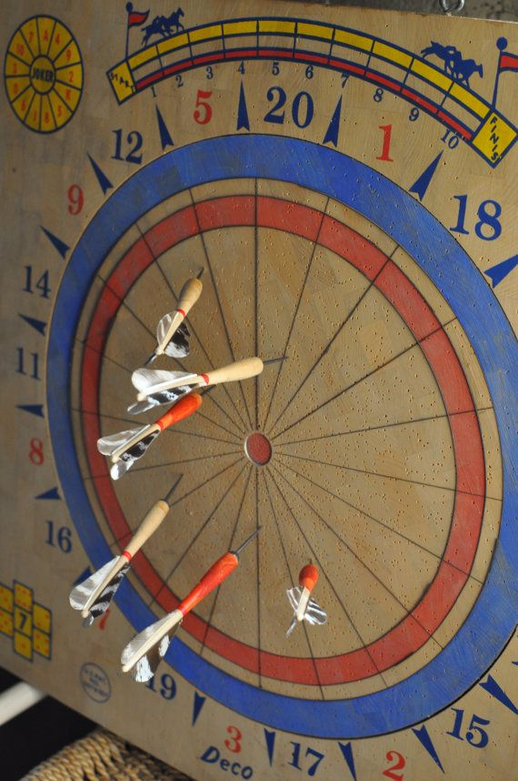 Vintage 1950s Wood Dartboard and Pheasant Feather Darts / Deco Dart Board /Classic Game / Eclectic Wall Art / Father's Day Gift