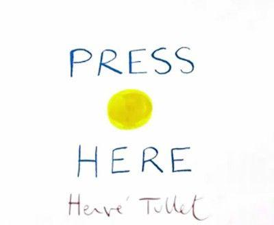 """Livre pour enfant """"Press here"""". Un petit livre pour enfant imaginé par le directeur artistique et illustrateur, Hervé Tullet. « Press Here », fait interagi"""