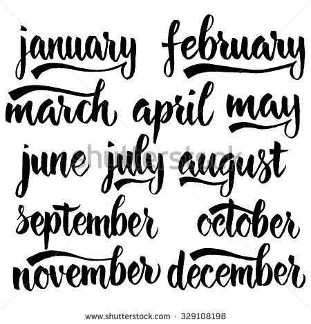 Handwritten names of months: December, January, February, March, April, May, June, July, August, September, October, November. Calligraphy words for calendars and organizers.