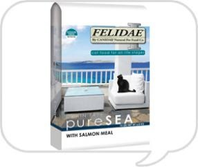 For cats, Felidae Holistic Grain Free Salmon formula contains 80% fish protein (cold water, Pacific salmon) with 0% grain. It's all natural and cats love the taste!