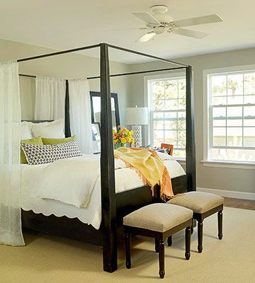 Cool and soothing.  I like the sisal rug under the bed, a good addition to soften the stained concrete floors.