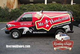 Custom wrapped Chevy Express van for Mr. Handyman of  Bellevue WA   Everyone needs a helping hand but often don't know where to find a reliable handyman. This wrap is sure to make Mr. Handyman's phone ring!  Riveting Wraps helps companies, franchises, transit, and governments both locally and nationally promote their business or services with commercial vehicle wraps and graphics.  Chevy Express van wraps and graphics Riveting Wraps.jpg