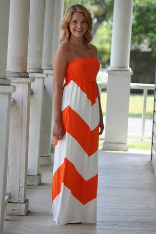 From the Stands Pocket Maxi Dress -Orange Chevron