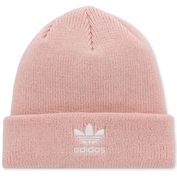 adidas Originals Trefoil Knit Beanie (66 BRL) ❤ liked on Polyvore featuring accessories, hats, pink, adidas hat, beanie cap hat, embroidered beanie, adidas beanie and pink knit hat