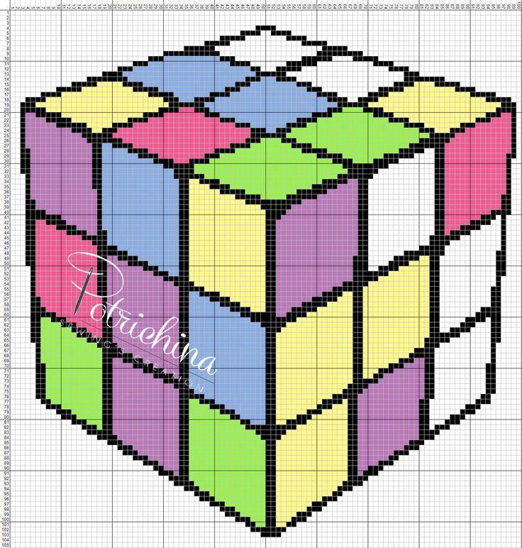 cubo di rubik - schema punto croce  - cross Stitch - Kreuzstich - Punto de Cruz