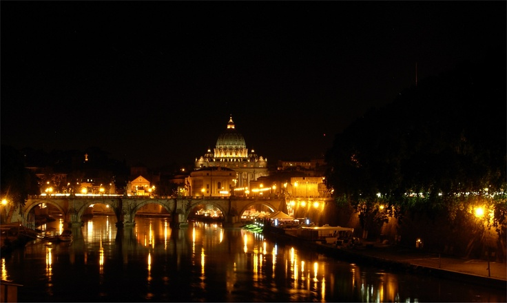 Rome by night San Peter from river Tiber
