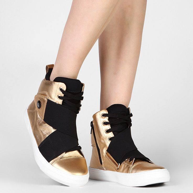 Tênis Hardcore Footwear Cano Alto Elástico Dourado | Zattini
