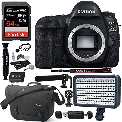 Canon EOS 5D Mark IV DSLR Camera Body, 64GB SD, Lowepro Camera Bag, Polaroid Microphone, Spare Battery, LED Light, Card Reader and Accessory Bundle