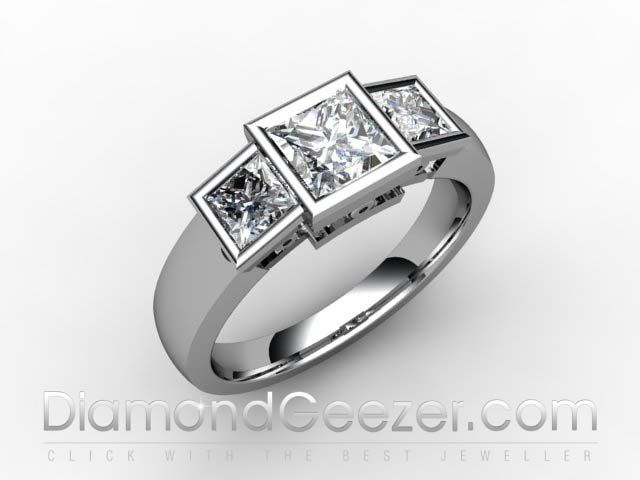 Square Princess-cut Centre Diamond Trilogy Ring in Hallmarked 18ct White Gold DESIGN ID: 02-0133-1008