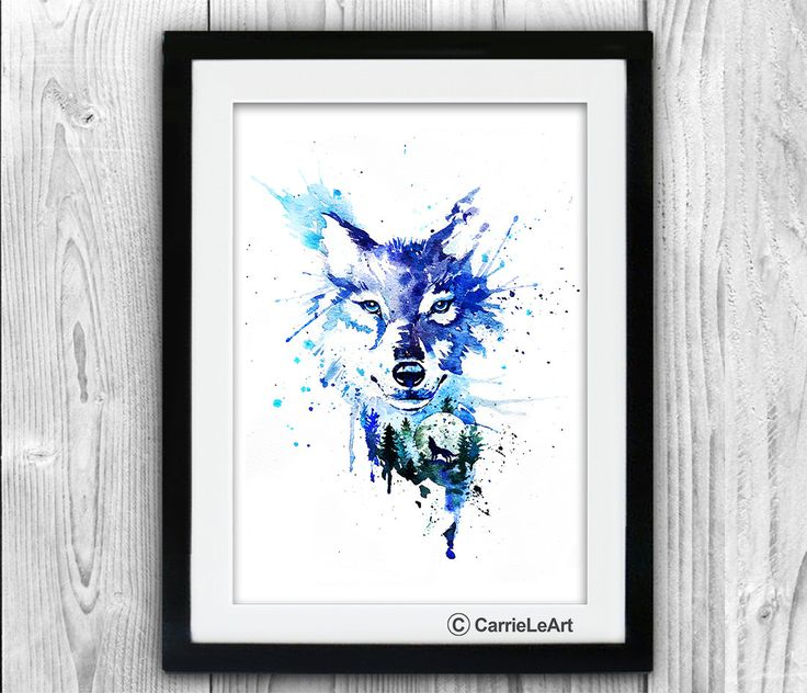 Wolf Print, Wolf Watercolour,Wolf Wall art, Original Wolf Watercolour Painting Print, Watercolor Wolf, Wolf Poster by CarrieLeArt on Etsy