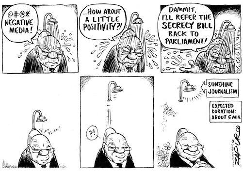 A Zapiro cartoon of Jacob Zuma with the shower head appendage.