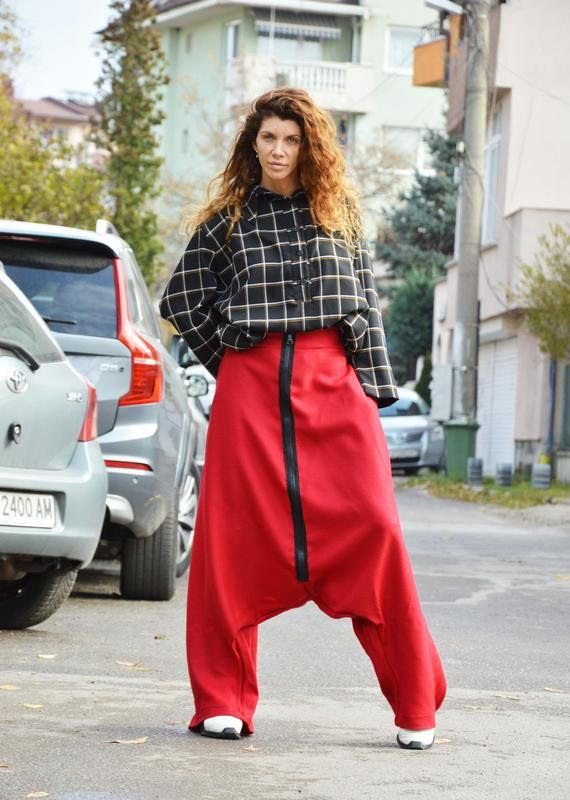 High Waisted Handmade Collection Harem Pants for Women Elegant Casual Trousers by SSDfashion Drop Crotch Trousers Women Red Pants