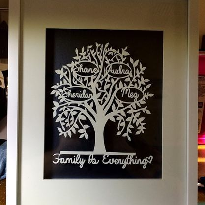 Hand cut personalised family tree available for order from mypaperpomegranate.com or www.mypaperpomegranate.etsy.com Design and cut by MyPaperPomegranate