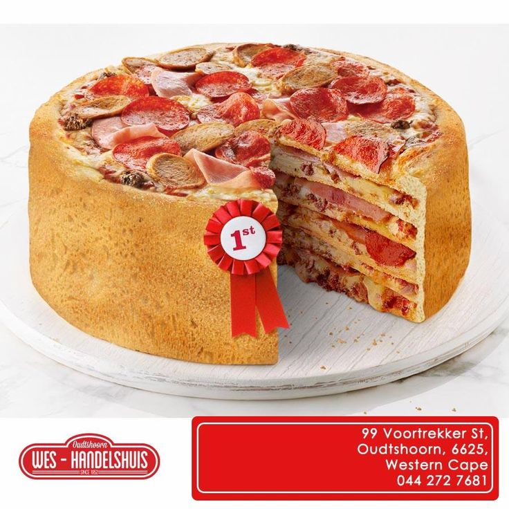 Have a look at this pizza! It's called the Pizza cake, what do you think it? Wishing you all a fabulous Friday! #ilovepizza #funfriday #fastfood Kyk na hierdie pizza, sy naam is die Pizza Koek. Sou jy so iets eet? Wat dink jy daarvan?