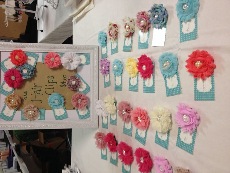 Hair clips. Market display setup. Handmade.