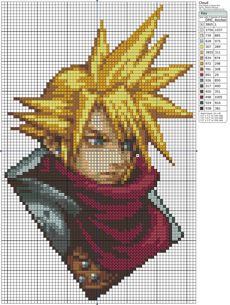 Final Fantasy VII Cloud Cross Stitch Pattern                                                                                                                                                                                 More