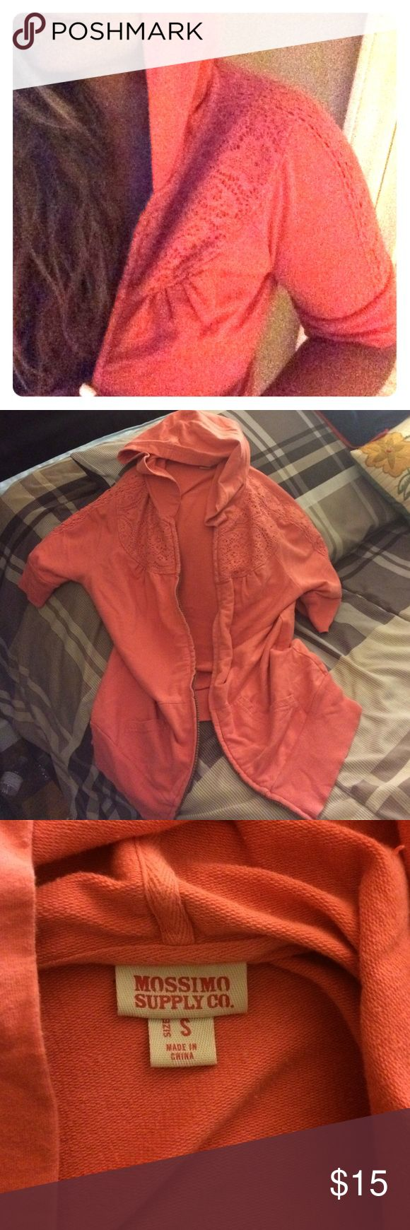 Short sleeve coral zip up hoodie Short sleeve zip up hoodie with crochet detailing - have worn as a bathing suit cover up once - no damage - coral color - like new condition - versatile piece Mossimo Supply Co. Tops Sweatshirts & Hoodies