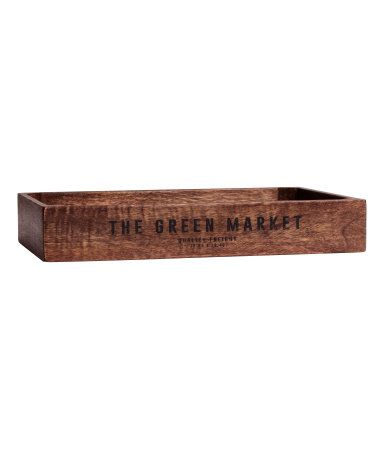 Dark brown. Rectangular, antique-finish wooden tray with printed text on one long side. Appearance can vary from product to product. Size 2 x 8 3/4 x 12 1/4