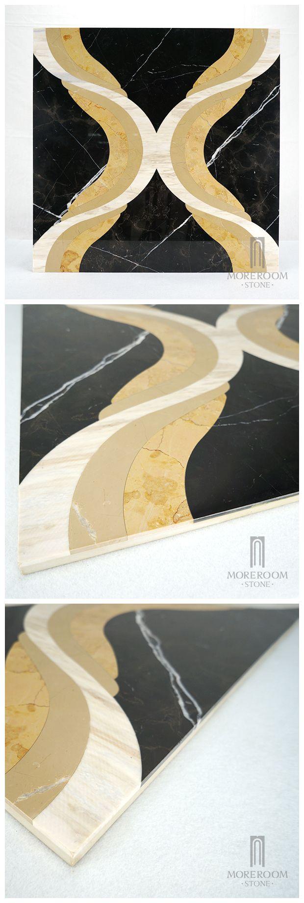 Spain Aulestia O Murélaga Nero Marquina Composite Marble Waterjet Marble Floor Tile Modern Bathroom Design Spanish Marble Price, Nero Marquina Marble Medallion