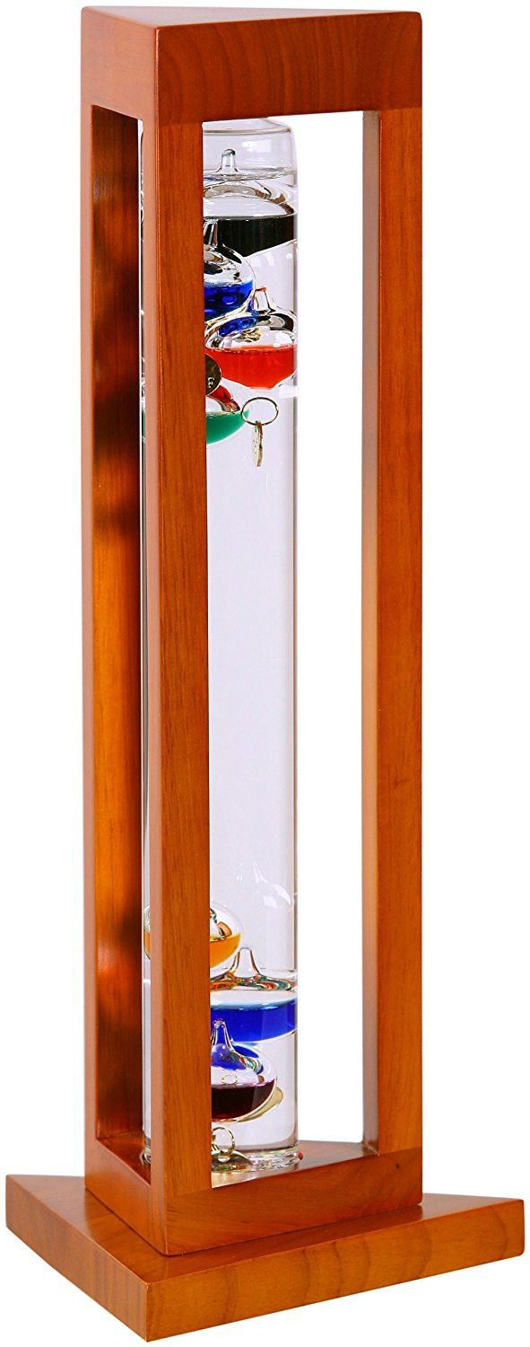 G.W. Schleidt YG924-N Galileo Thermometer Triangle Natural Finish Multicolored