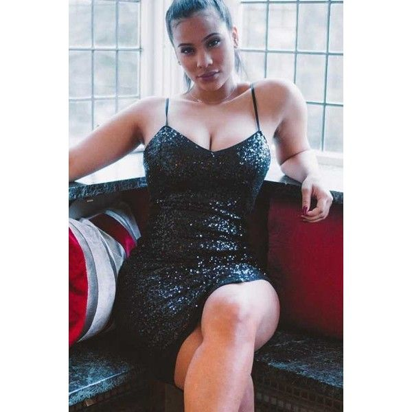 Black Sequined V Neck Spaghetti Straps Sleeveless Sexy Party Dress ($25) ❤ liked on Polyvore featuring dresses, black, v-neck dresses, sequin cocktail dresses, v neck sequin dress, v neck cocktail dress and sexy going out dresses