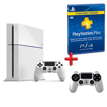 PS4 500 White + 2nd Dualshock White + Playstation Plus Card / Sony PS4 / Παιχνίδια /